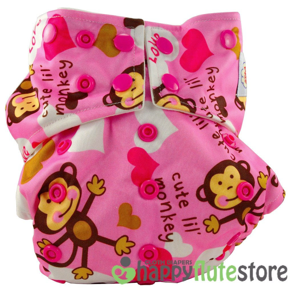Happy Flute Pocket Cloth Diaper - Pink Monkey