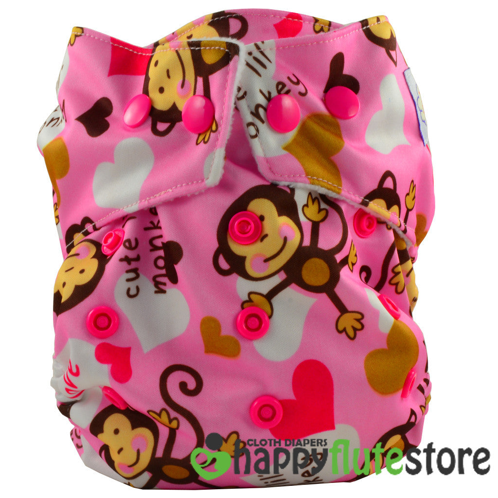 Happy Flute Heavy Wetter Cloth Diaper- Pink Monkey