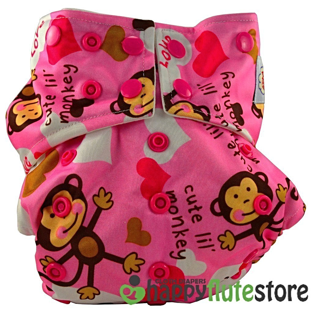 Happy Flute All in One Charcoal Bamboo Cloth Diaper - Pink Monkey