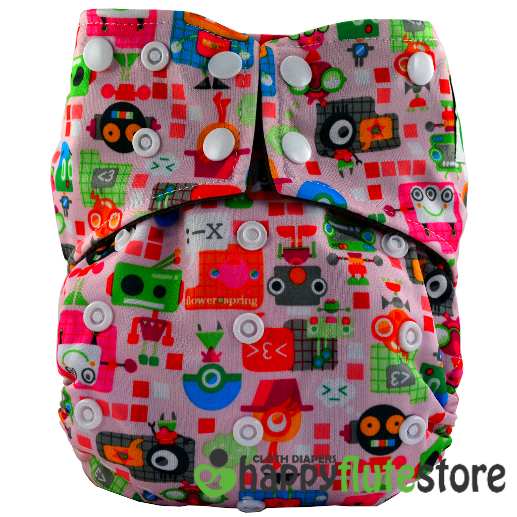 Happy Flute All in One Charcoal Bamboo Cloth Diaper - Pink Robot (front)