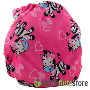 Happy Flute Pocket Cloth Diaper - Pink Zebra (back)