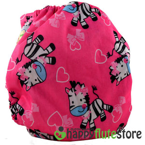Happy Flute All in One Charcoal Bamboo Cloth Diaper - Pink Zebra (back)