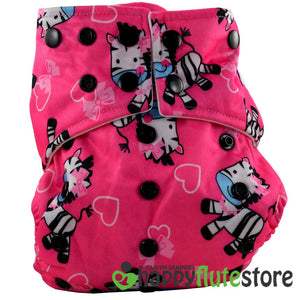 Happy Flute All in One Charcoal Bamboo Cloth Diaper - Pink Zebra