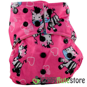 Happy Flute Pocket Cloth Diaper - Pink Zebra