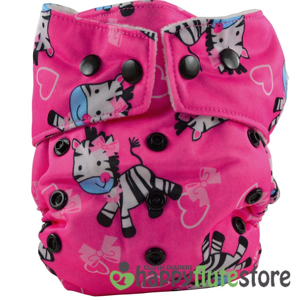 Happy Flute Heavy Wetter Cloth Diaper - Pink Zebra