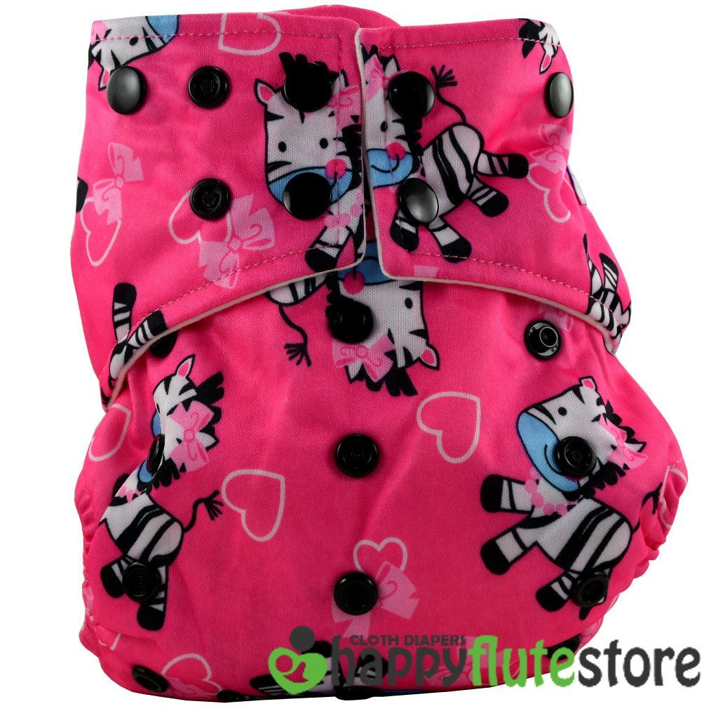 Happy Flute All in One Cotton Bamboo Cloth Diaper - Pink Zebra