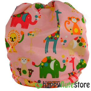 Happy Flute All in One Charcoal Bamboo Cloth Diaper - Pink Zoo (back)