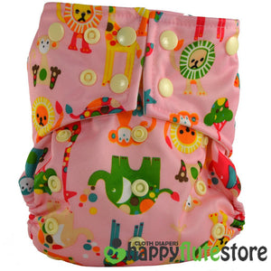 Happy Flute All in One Charcoal Bamboo Cloth Diaper - Pink Zoo