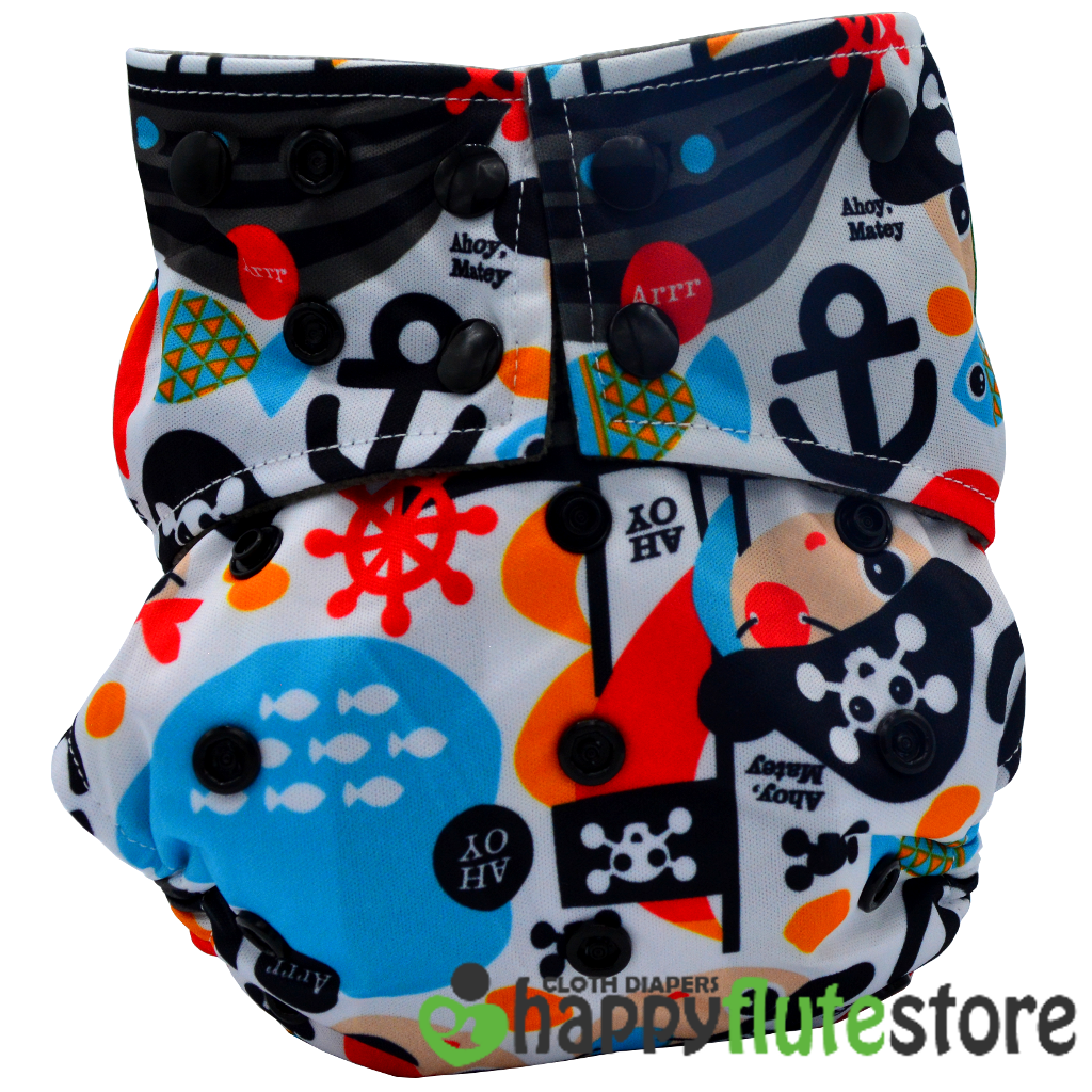 Happy Flute  All in One Charcoal Bamboo Cloth Diaper - PIrates
