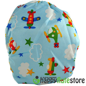Happy Flute All in One Charcoal Bamboo Cloth Diaper - Planes (back)