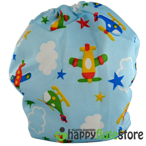 Happy Flute Heavy Wetter Cloth Diaper- Planes (back)