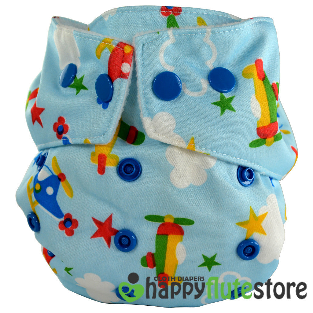 Happy Flute Heavy Wetter Cloth Diaper- Planes