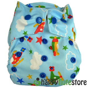 Happy Flute All in One Charcoal Bamboo Cloth Diaper - Planes
