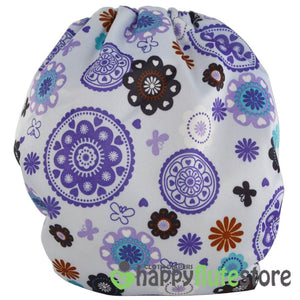 Happy Flute Heavy Wetter Cloth Diaper - Purple Pinwheels (back)