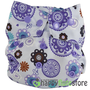 Happy Flute Heavy Wetter Cloth Diaper - Purple Pinwheels