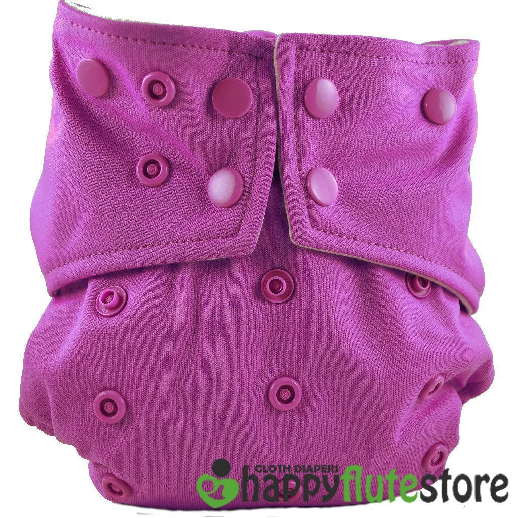 Happy Flute All in One Charcoal Bamboo Cloth Diaper - Purple