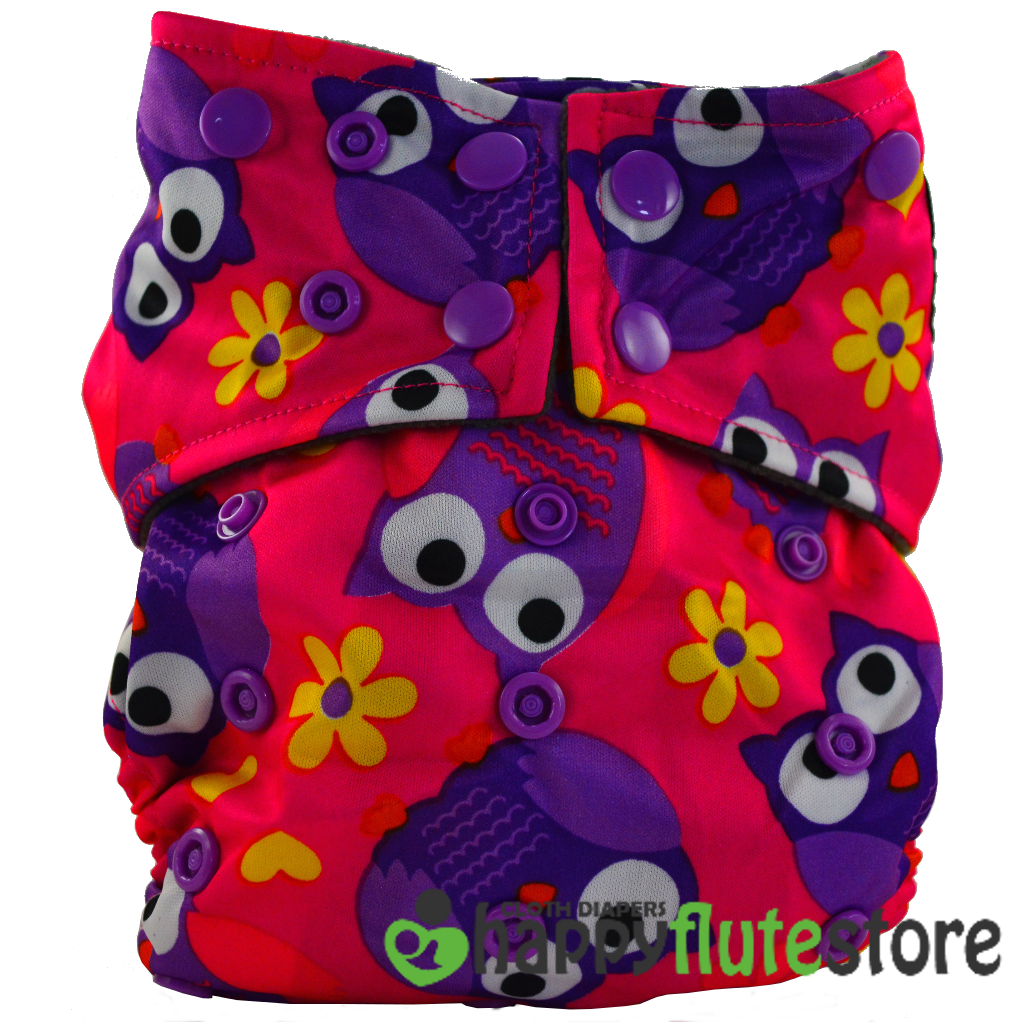Happy Flute All in One Charcoal Bamboo Cloth Diaper - Purple Owls (front)
