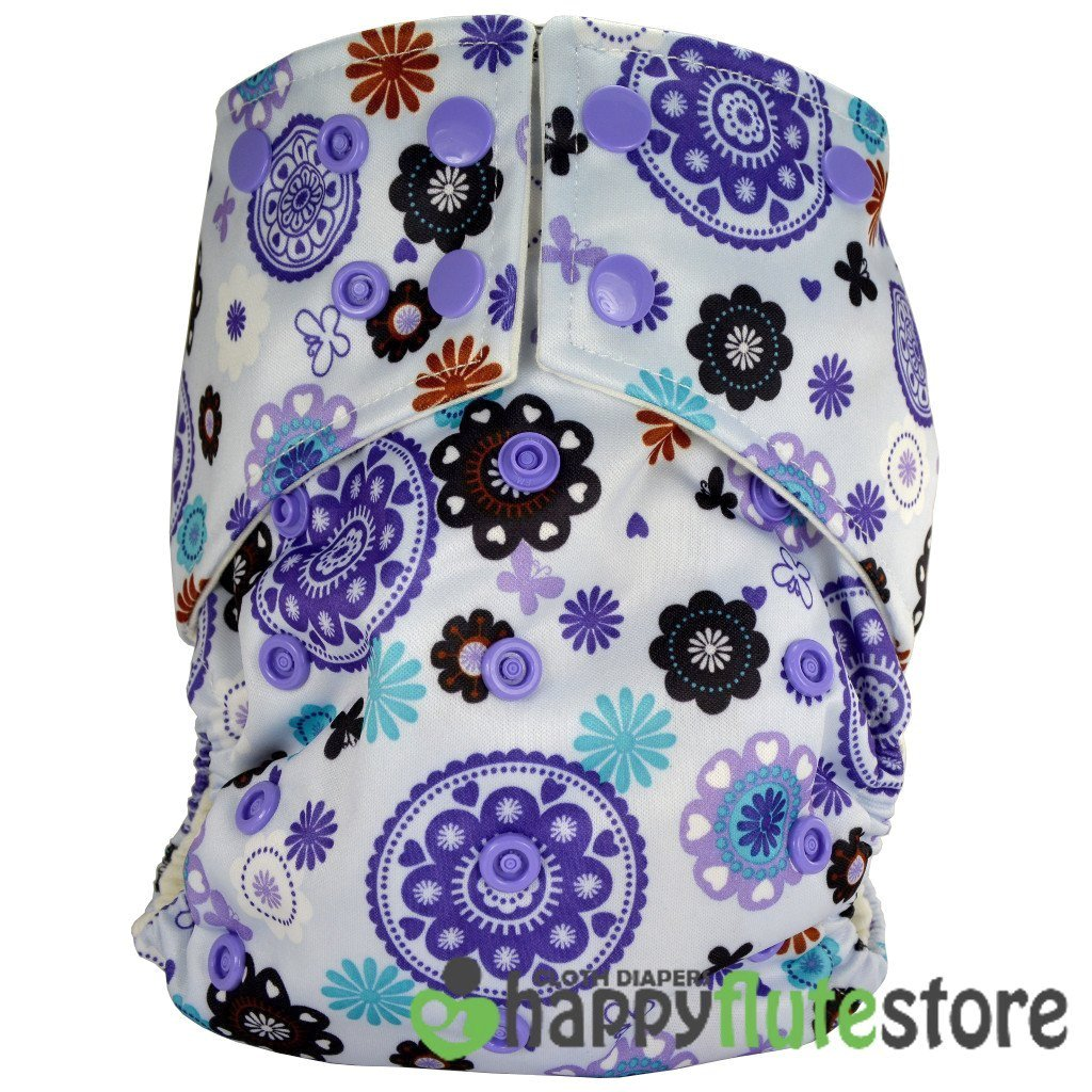 Happy Flute All in One Cotton Bamboo Cloth Diaper - Purple Pinwheels
