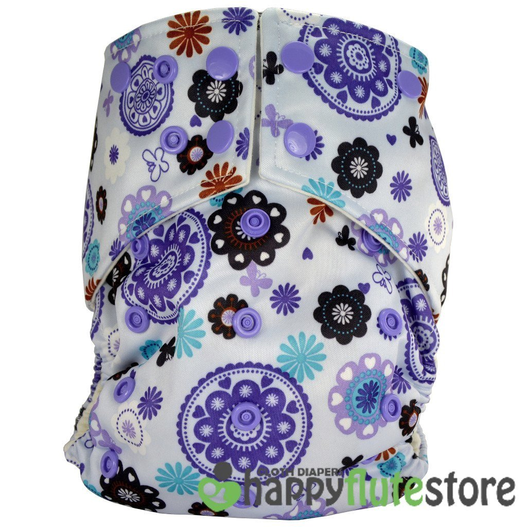Happy Flute All in One Charcoal Bamboo Cloth Diaper - Purple Pinwheels