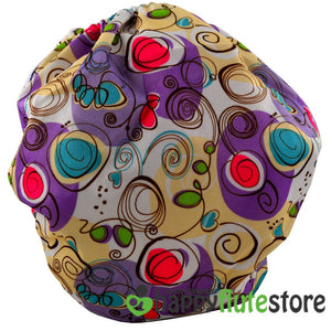 Happy Flute All in One Charcoal Bamboo Cloth Diaper - Purple Squigly (back)