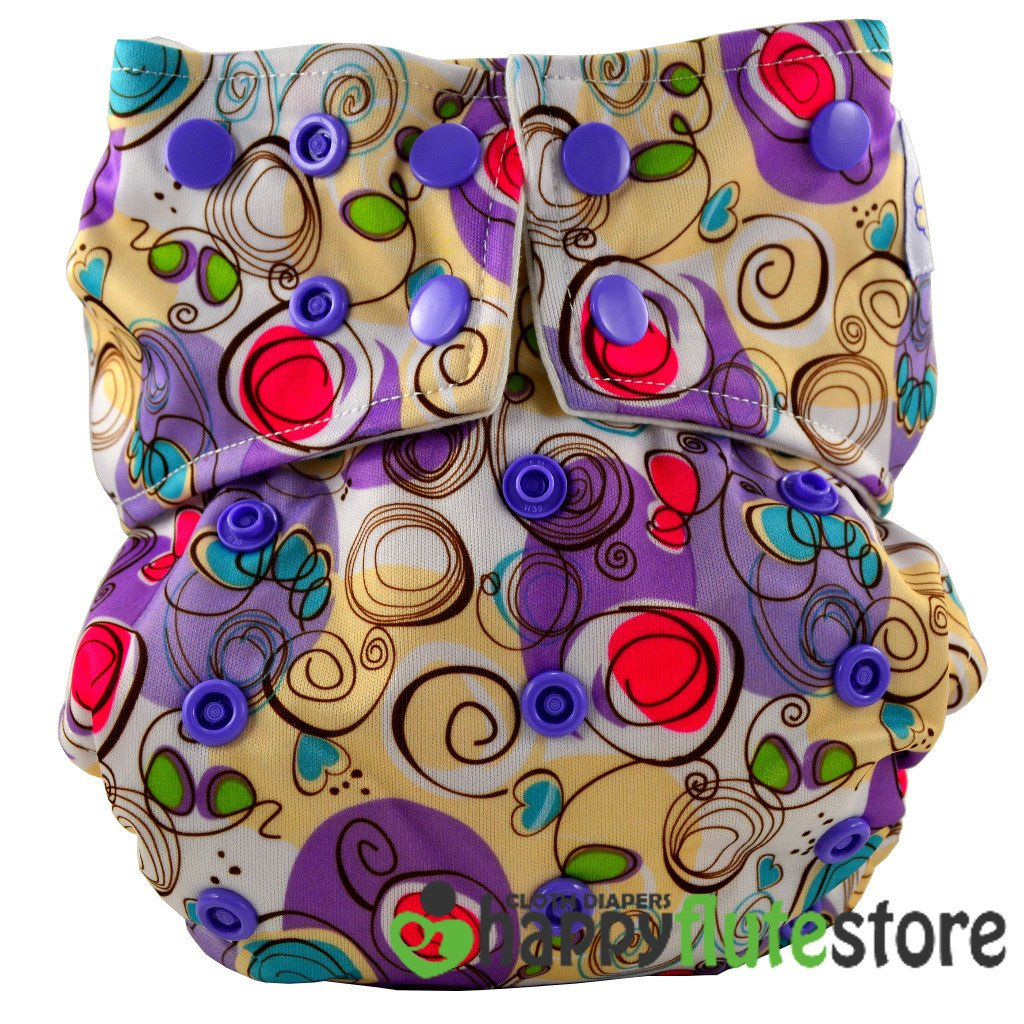 Happy Flute All in One Charcoal Bamboo Cloth Diaper - Purple Squigly