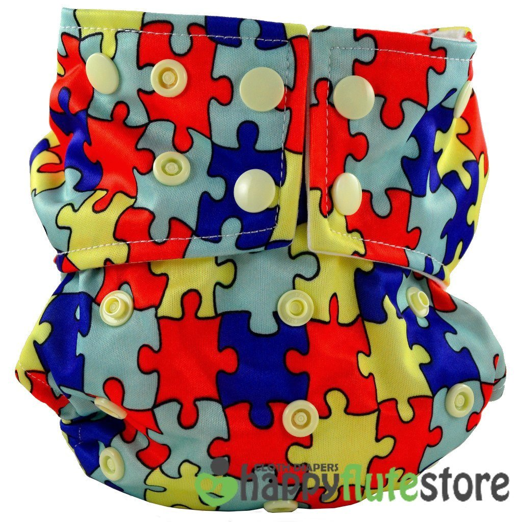 Happy Flute All in One Cotton Bamboo Cloth Diaper - Puzzle