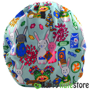 Happy Flute All in One Charcoal Bamboo Cloth Diaper -  Rabbits (back)