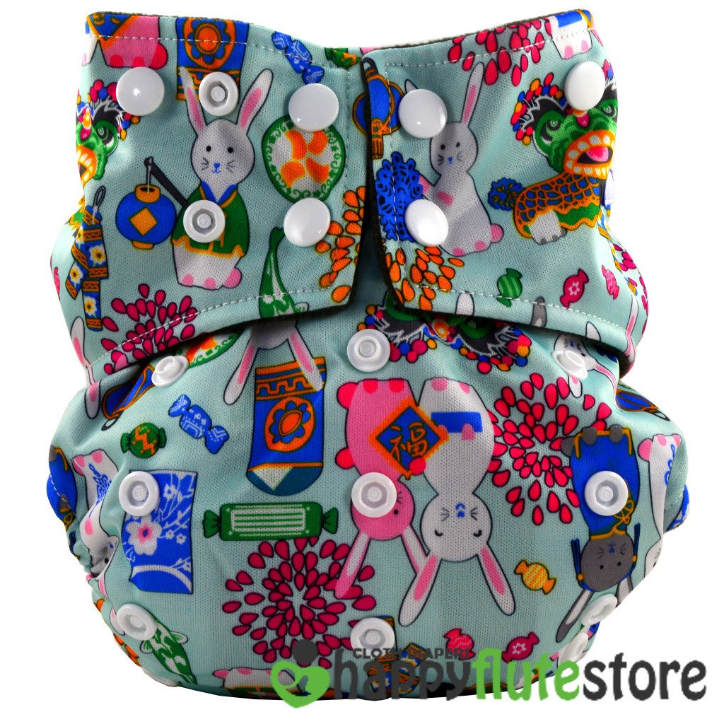 Happy Flute All in One Charcoal Bamboo Cloth Diaper -  Rabbits (front)