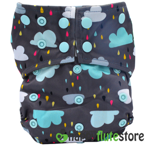 Happy Flute  All in One Charcoal Bamboo Cloth Diaper - Rain
