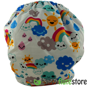 Happy Flute All in One Charcoal Bamboo Cloth Diaper - Rainbow (back)