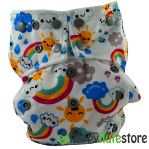 Happy Flute All in One Charcoal Bamboo Cloth Diaper - Rainbow