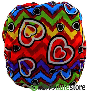 Happy Flute All in One Charcoal Bamboo Cloth Diaper - Rainbow Hearts (back)