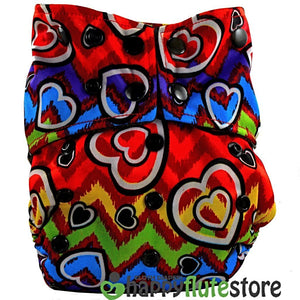 Happy Flute All in One Charcoal Bamboo Cloth Diaper - Rainbow Hearts (front)