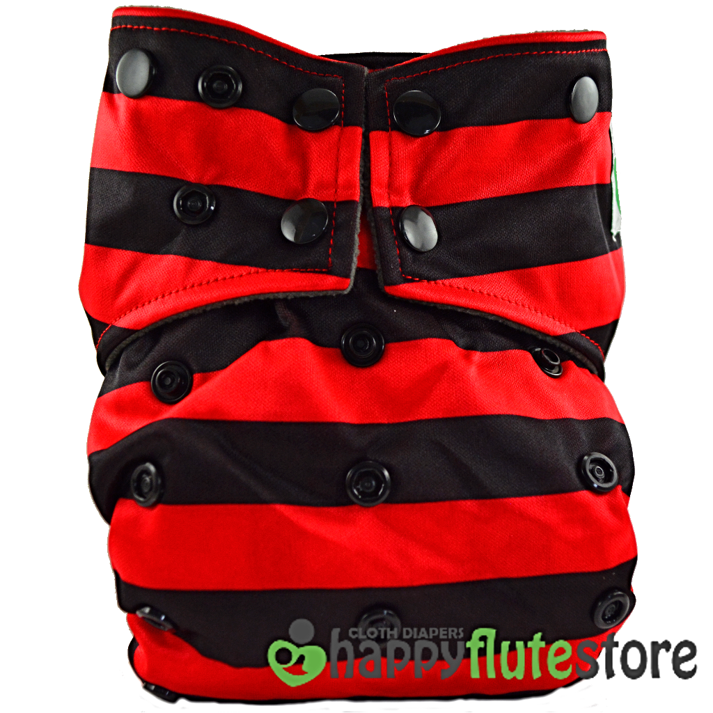 Happy Flute All in One Charcoal Bamboo Cloth Diaper - Red and Black Stripes