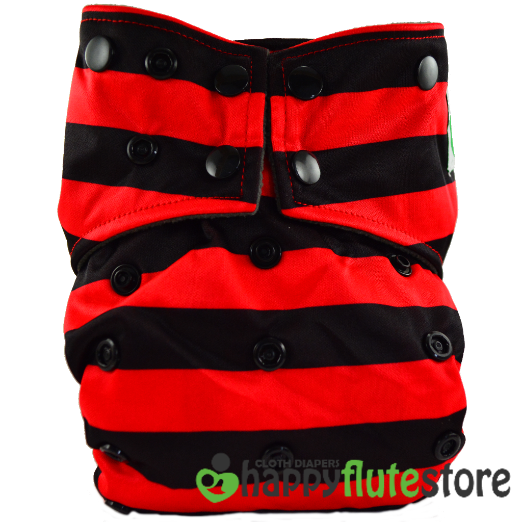 All in One Cotton Bamboo Cloth Diaper - Red & Black Stripes