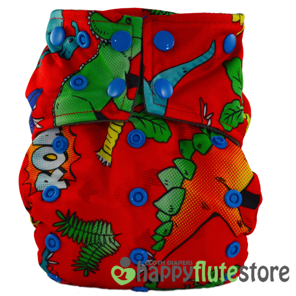 Happy Flute All in One Cotton Bamboo Cloth Diaper - Roar