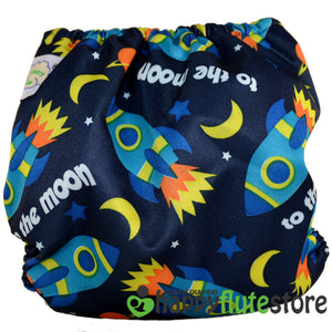 Happy Flute Pocket Cloth Diaper - Rockets (back)