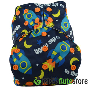 Happy Flute Pocket Cloth Diaper - Rockets