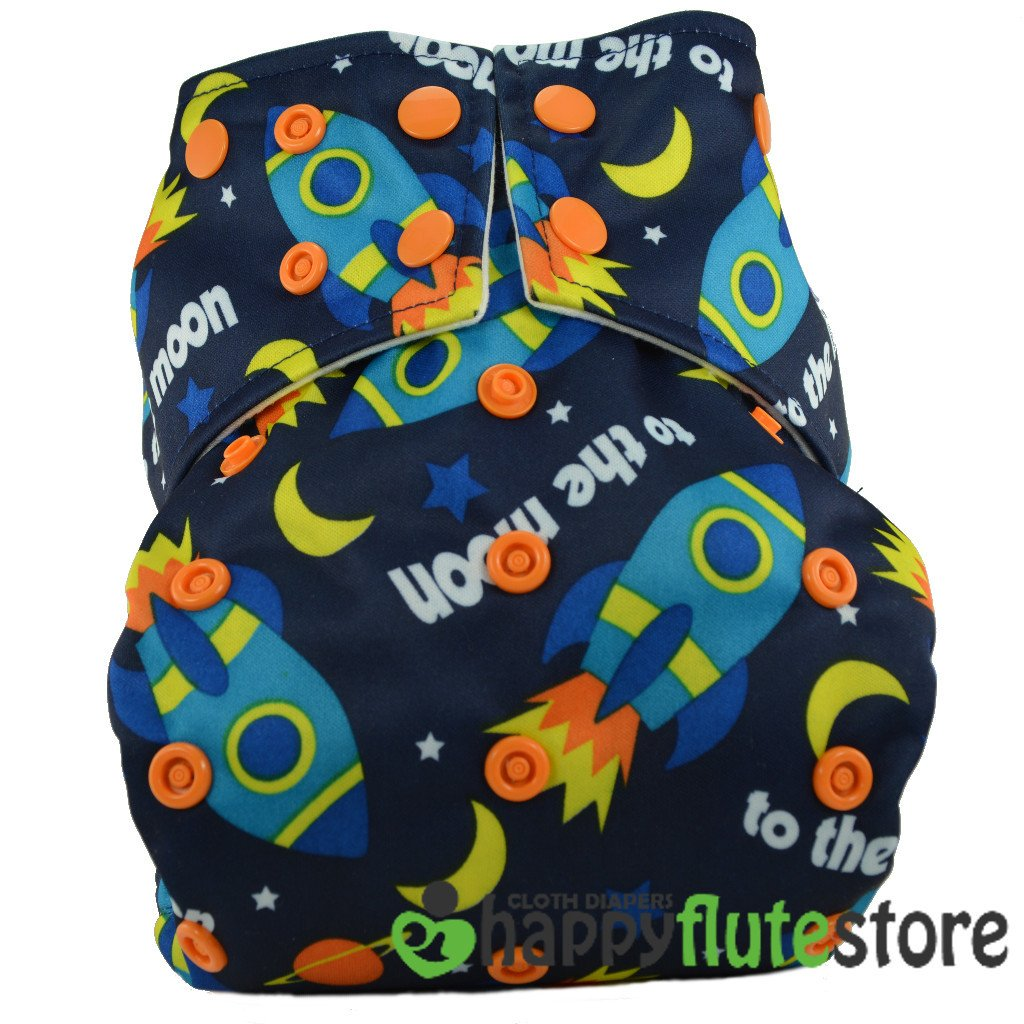 Happy Flute All in One Charcoal Bamboo Cloth Diaper - Rockets