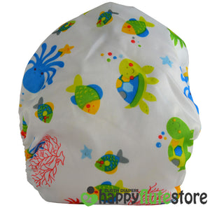 Happy Flute All in One Charcoal Bamboo Cloth Diaper - Sea Creatures (back)