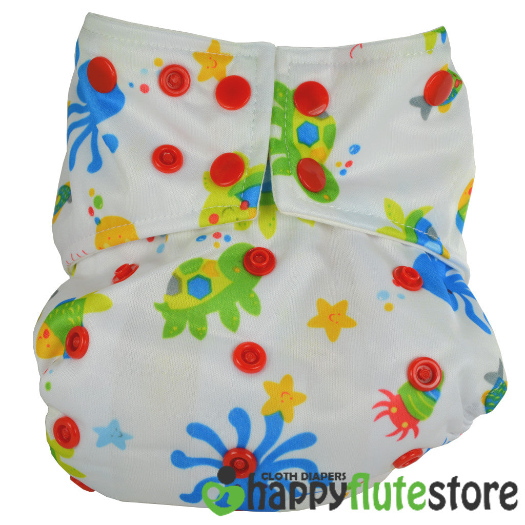 Happy Flute All in One Charcoal Bamboo Cloth Diaper - Sea Creatures