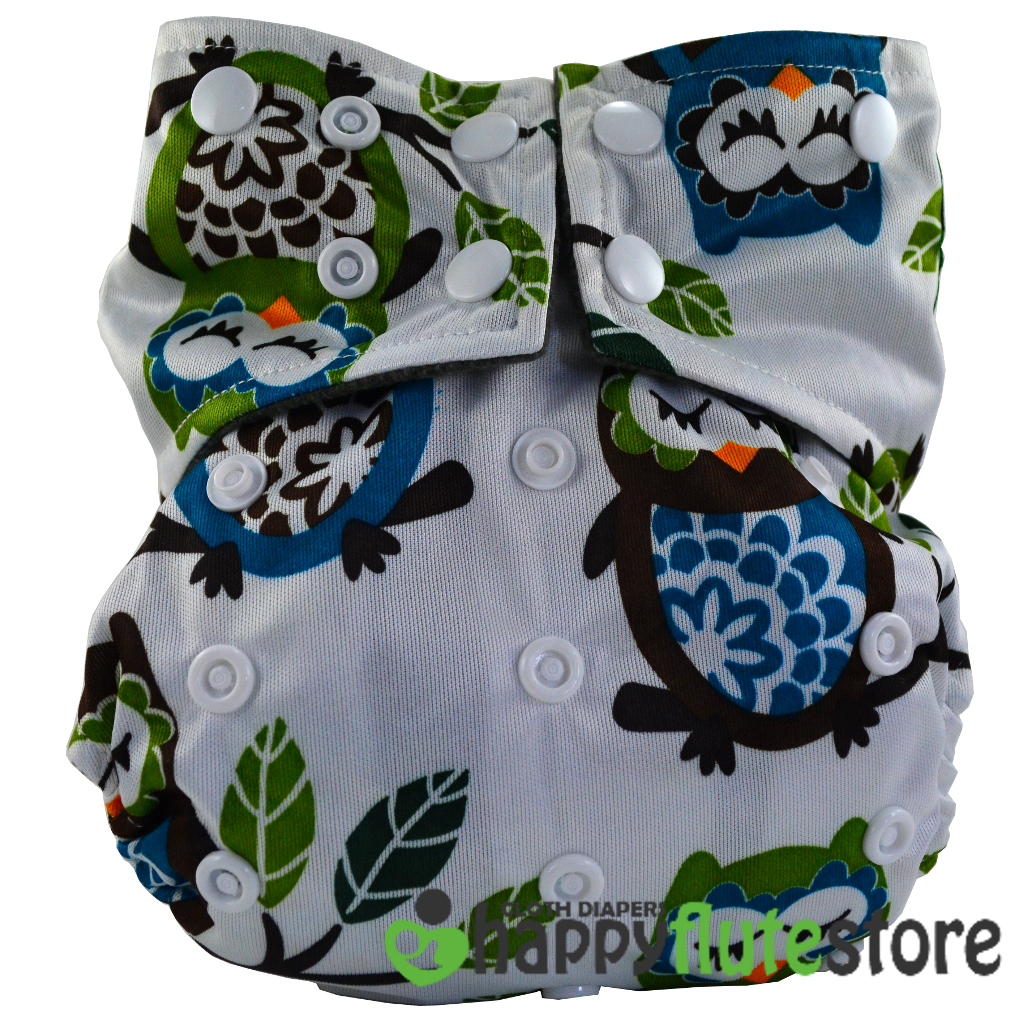 Happy Flute All in One Cotton Bamboo Cloth Diaper -  Sleeping Owls