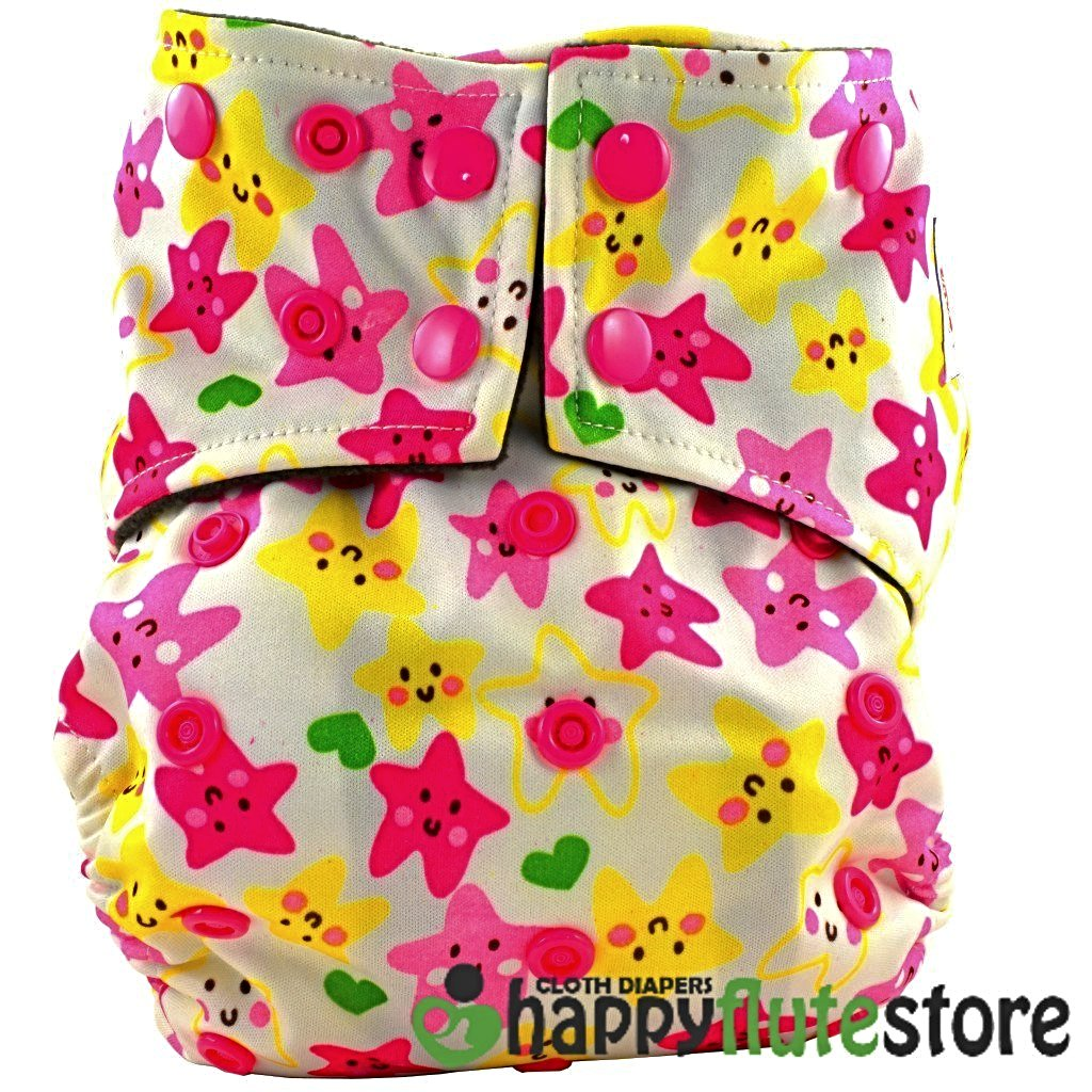 Happy Flute All in One Charcoal Bamboo Cloth Diaper - Starfish (front)