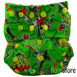 Happy Flute All in One Charcoal Bamboo Cloth Diaper - Storytime