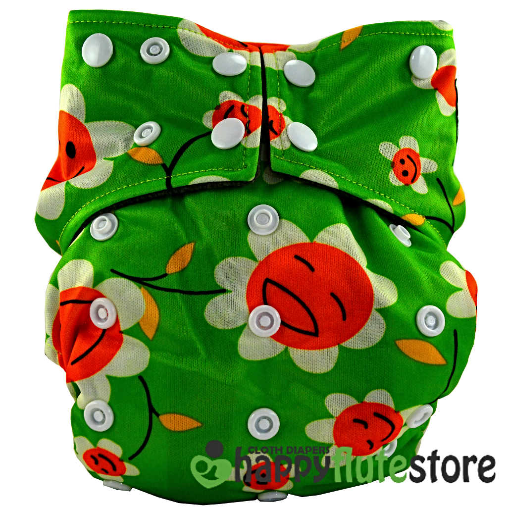 Happy Flute All in One Charcoal Bamboo Cloth Diaper - Sunflower (front)