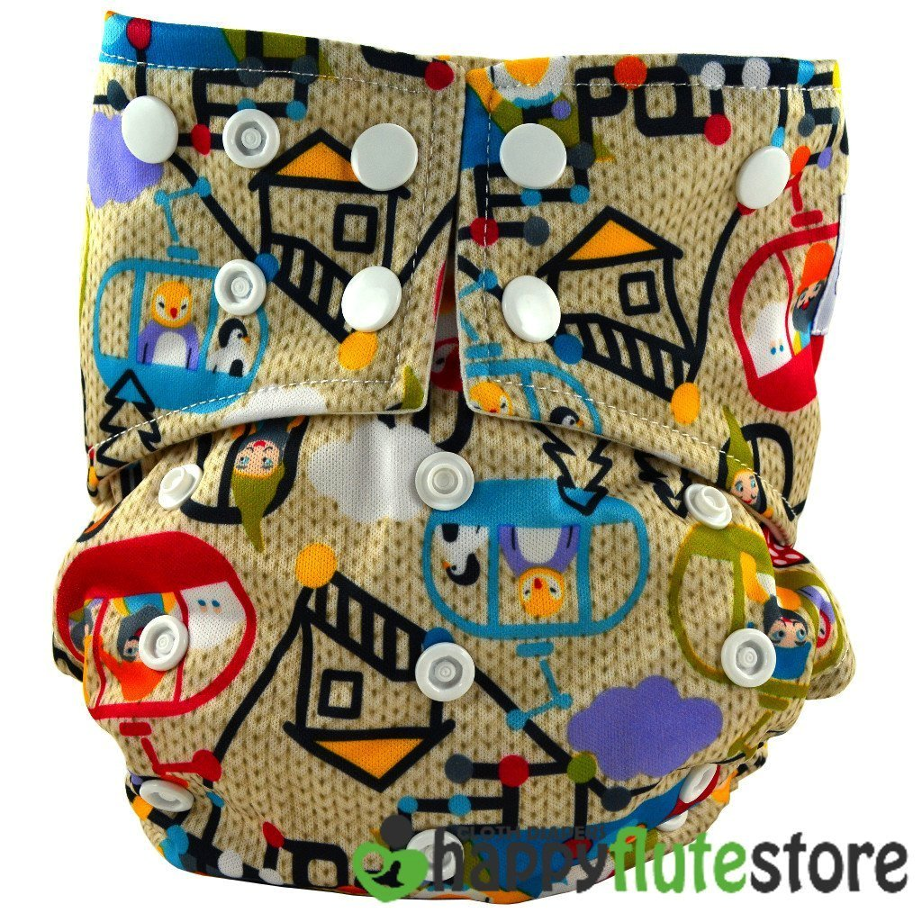 Happy Flute All in One Charcoal Bamboo Cloth Diaper - Tiny Town