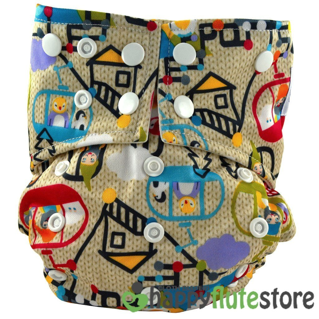 Happy Flute All in One Cotton Bamboo Cloth Diaper - Tiny Town
