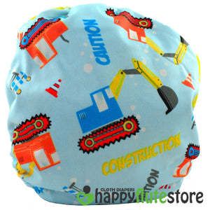 Happy Flute Pocket Cloth Diaper - Trucks (back)