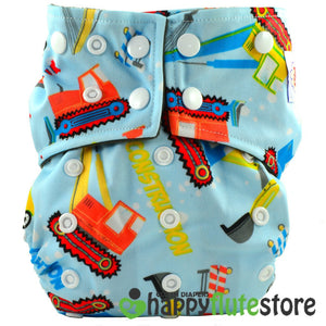 Happy Flute All in One Charcoal Bamboo Cloth Diaper - Trucks