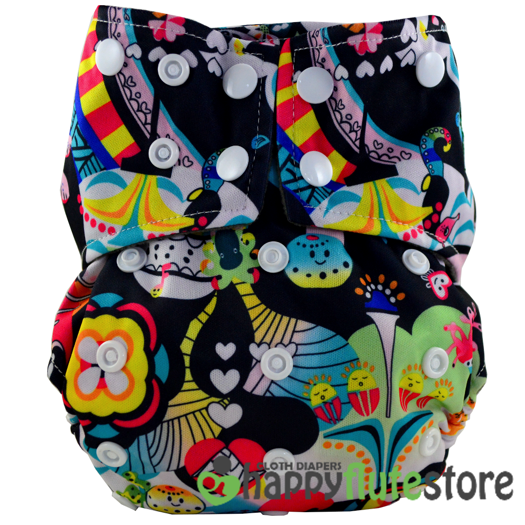 Happy Flute All in One Cotton Bamboo Cloth Diaper - Under The Sea
